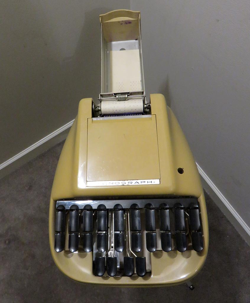 BC court reporter yellow steno machine