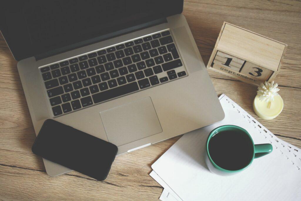 laptop, phone, coffee - job board